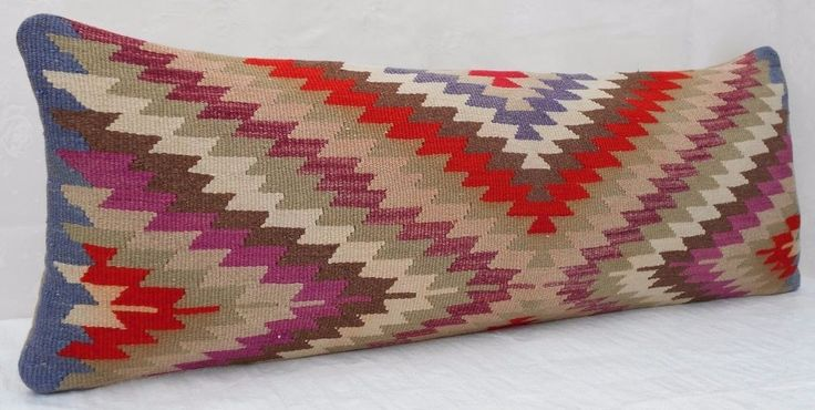 14x40'' Hippie Bedding Handwoven Faded Pale Kilim Pillow Cover,Long Bed Cushion #Handmade