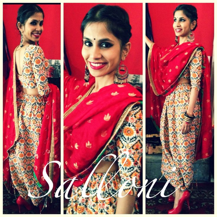Outfit by Ayush Kejriwal. Salloni from the Subhanallaha collection. All the 3 elements of this outfit can be used on its own. The blouse can b worn as a saree blouse  or a crop top, the dhoti pants can be worn under a saree, with a top or a t shirt and the dupatta can b teamed with any other outfit. Made to measure in your size this outfit is one keeper. For purchases email me at ayushk@hotmsil.co.uk or what's app me on 00447840384707