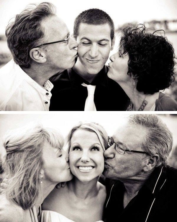 """""""Shot"""" Bride with her parents Kiss Groom with his Parents kiss Love this idea!!"""