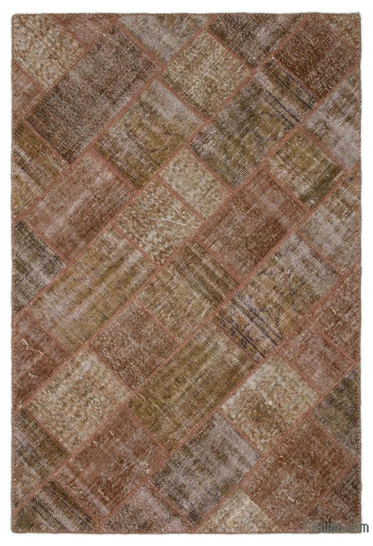 K0022008 Brown Over-dyed Turkish Patchwork Rug | Kilim Rugs, Overdyed Vintage Rugs, Hand-made Turkish Rugs, Patchwork Carpets by Kilim.com