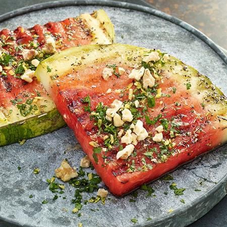 """Welcome to the grill, watermelon. Marinate these thick-cut """"steak"""" fruit slices in a mixture of white balsamic vinegar, lemon juice and..."""