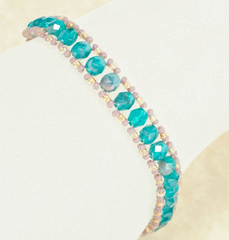 Seed Bead Bracelet Patterns | Spaced Two-Needle Ladder Stitch Bracelet Pattern