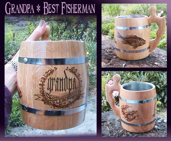 Wooden Beer Mugs/Fisherman Gifts/Grandfather by FavoritGiftDnepr
