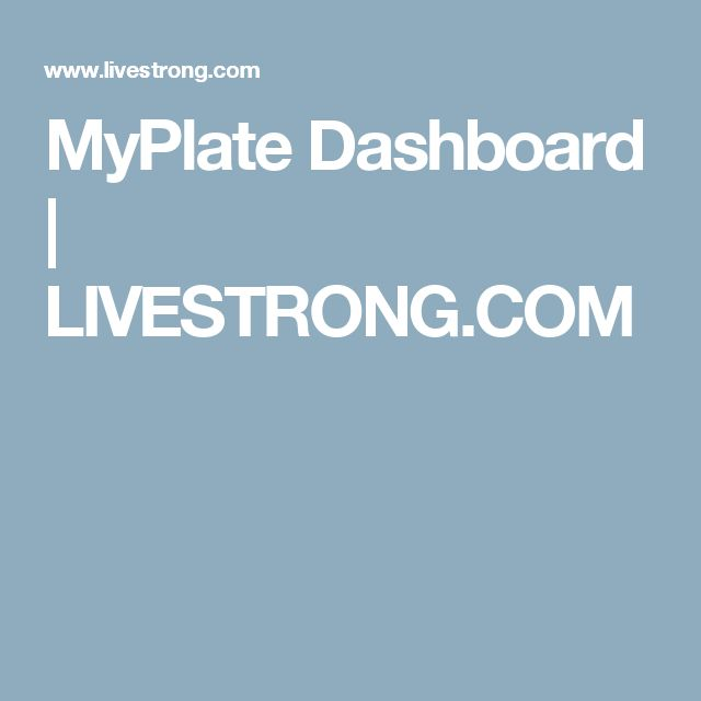 MyPlate Dashboard | LIVESTRONG.COM