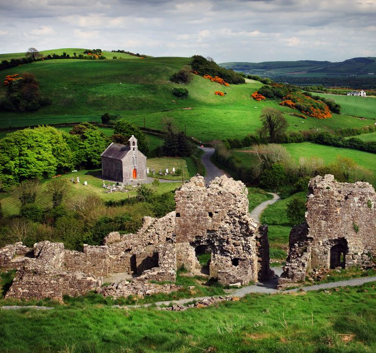 View from the Rock of Dunamase on to Holy Trinity Church ... situated between Portlaoise and Stradbally, Co. Laoise, Ireland.
