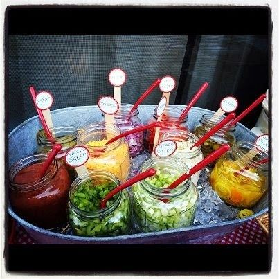 This made me hungry! What a fab idea for a party you serve the basic taco or nacho and this little bar allows your guests to add as they pl...