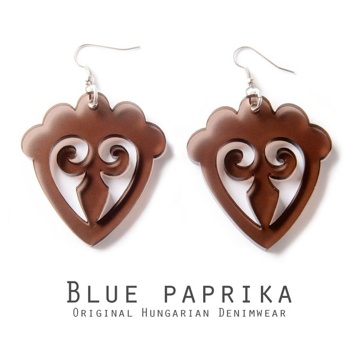 Mézes szív formájú transzparens barna fülbevaló