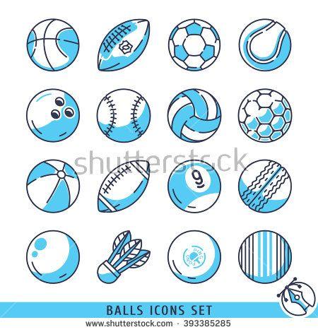 Balls icons set vector lines  illustration - stock vector