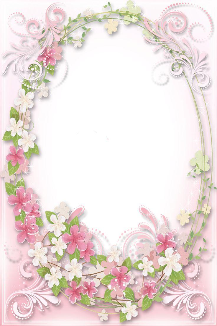 Transparent Frame Flowers Pink