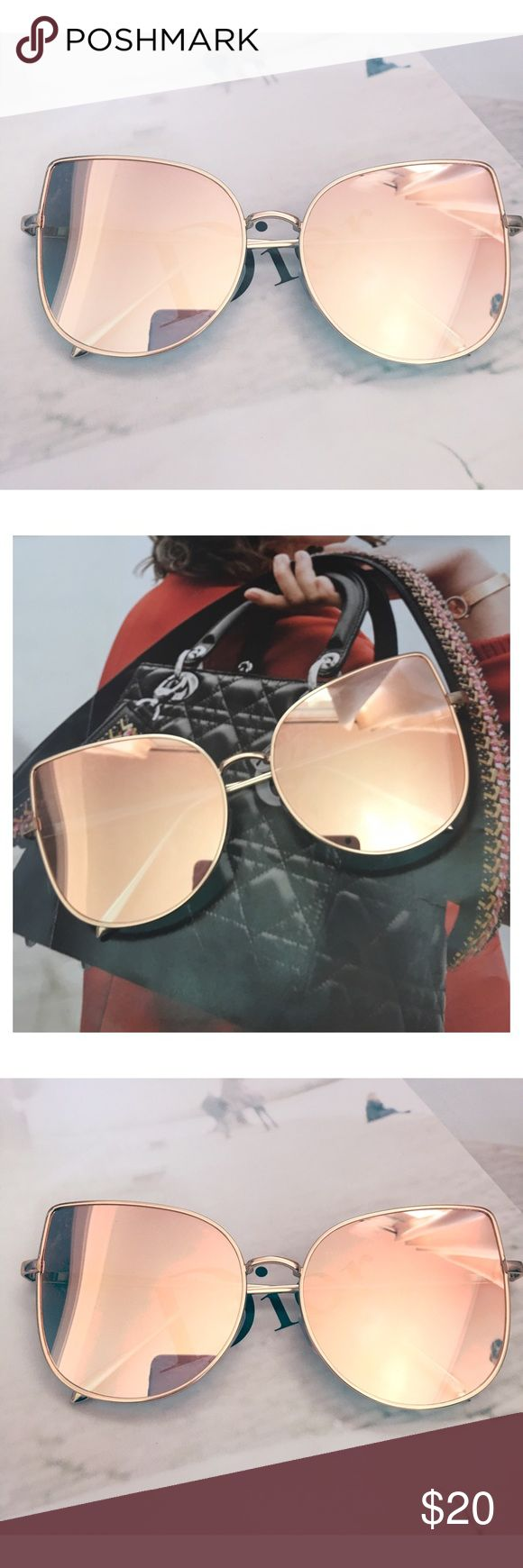 SOLD OUT- Rose Gold Mirrored Sunglasses Restocking soon! Cat Eye Aviator Sunglasses. This listing is for a pair of Cat Eye aviator sunshades. Rose Gold Mirrored Sunglasses. Retro. Sunglasses. Wire sunglasses. Trending sunglasses. UV protection. Top quality! Brand new! Bundle and save! Accessories Glasses
