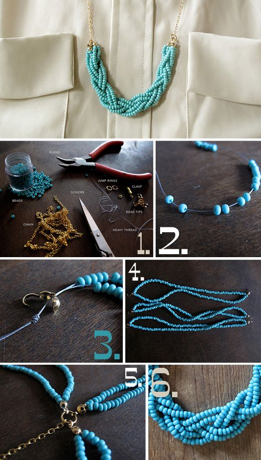 DIY jewelry--must try.Ideas, Diy Necklaces, Statement Necklaces, Beads Necklaces, Seeds Beads, Diyjewelry, Diy Jewelry, Crafts, Braids Necklaces
