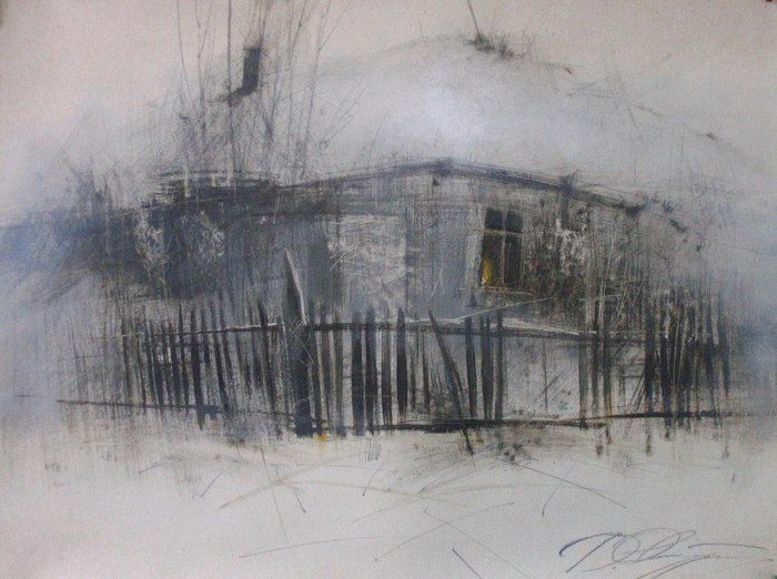 Денис Октябрь -  Old house in winter-45х63.mixed media on paper.2005..jpg