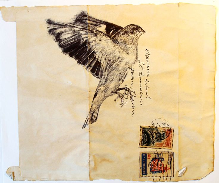 AS. Unit 2. Project Family. Artist 2 - Mark Powell inspired, bird in biro.