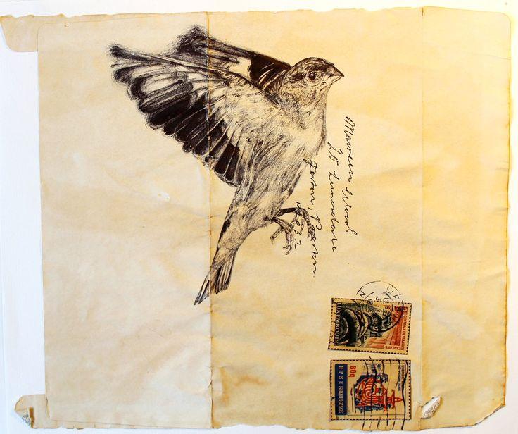 AS. Unit 2. Project Family. Artist 2 - Mark Powell inspired, bird in biro.