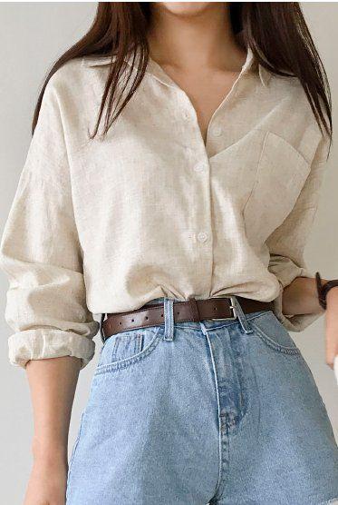 Leinen One Pocket Shirt zu verkaufen | Kragenhemde…