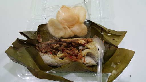 Nasi Bakar dengan pilihan lauk Ikan atau Daging