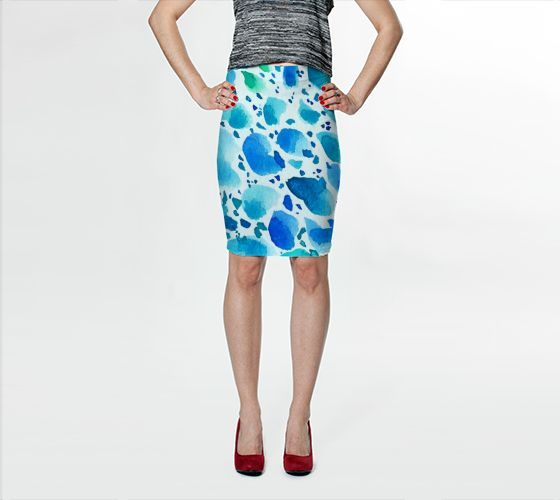 "Fitted Skirt ""Blue Watercolor Dalmatian Pattern"" by Jenny Mhairi"
