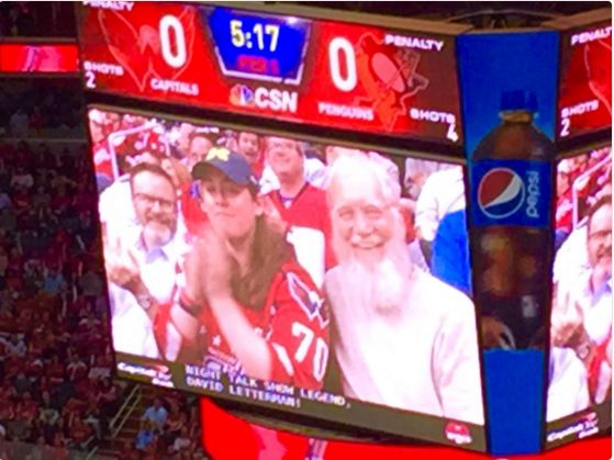 TV legend David Letterman was shown on the Jumbrotron during the first period of Game 1. Celebrities making appearances at playoff sporting events is nothing new, and the Caps are no different. Midway through the first period, fans at the Verizon Center caught a glimpse of late-night TV legend Letterman. Camera's caught him, and all of his heavily-bearded glory, taking in the game from the stands | CSN Mid-Atlantic