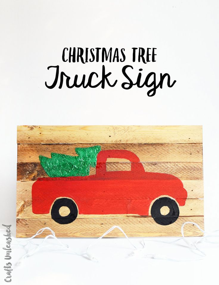 It's so fun and easy to make your own DIY Christmas sign. Follow along for the instructions and my free Christmas tree truck template!
