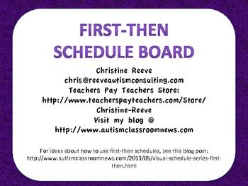 First-Then Schedule Board Freebie Repinned by SOS Inc. Resources http://pinterest.com/sostherapy.