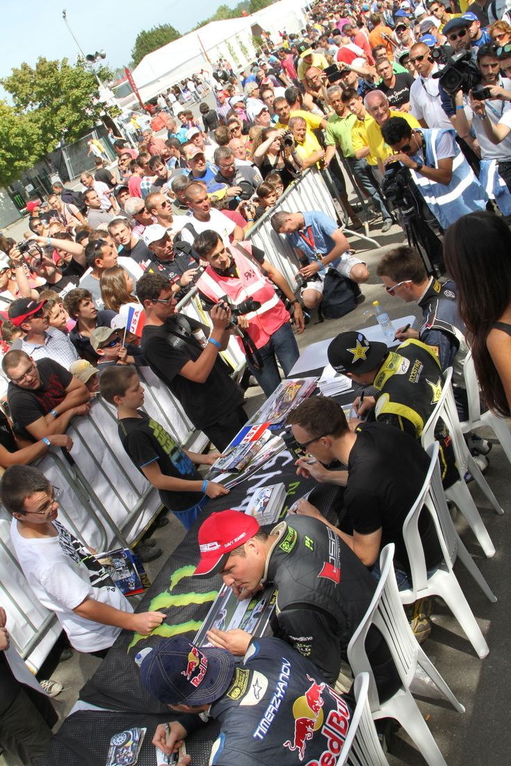 Some of the best fans in the world queuing for a bit of time and a signature with our biggest names in the sport #RX // #RXUnleashed www.rallycrossrx.com