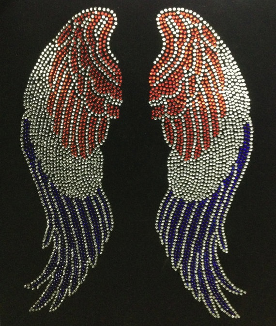 Rhinestone Transfer Large Angle wing 4th of July Rhinestone Iron On Hot Fix Heat Transfer Motif Appliqué - DIY