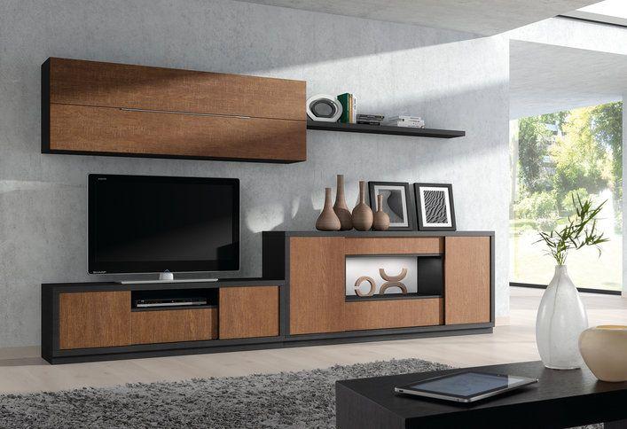 Ensemble meuble TV couleur chêne marron et noir contemporain ARIEL