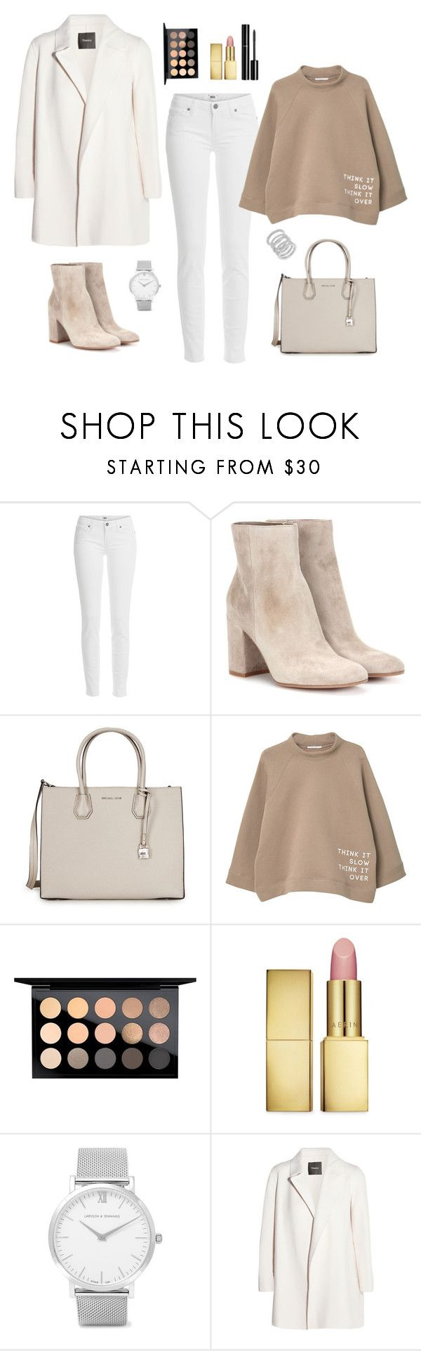"""""""Untitled #323"""" by bajka2468 ❤ liked on Polyvore featuring Paige Denim, Gianvito Rossi, Michael Kors, MANGO, MAC Cosmetics, AERIN, Chanel, Larsson & Jennings, Theory and Cole Haan"""