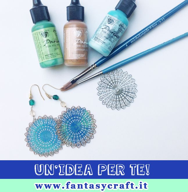 Quick and easy ideas for earrings: Vintaj Patina! Mix and match two or more colors.. #fantasycraft