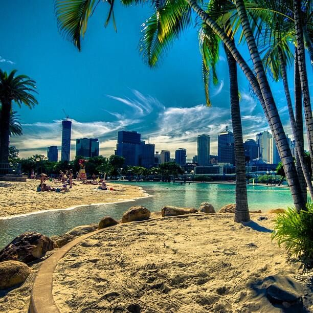 A beach in the middle of a city - South Bank's man made beaches.  Make a day of it, head to Max Brenner, go for a ferry ride and stroll through the markets on a balmy Brisbane evening