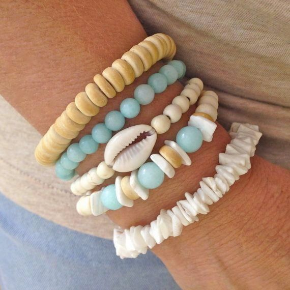 beach bracelets, shell bracelets, mermaid jewelry, beachcomber bohemian bracelets