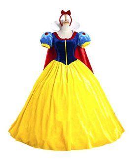 Snow White Princess Costume with Headband for Teens & Adult S-XXL #Princess #Halloween #Costume