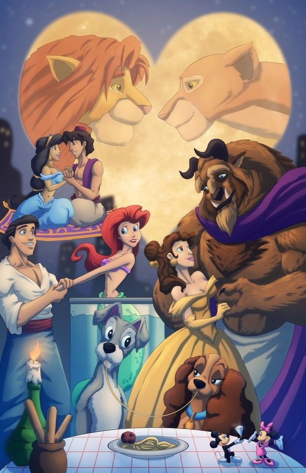 Disney Couples although beast looks like he's wearing a toga and ariel looks uneasy
