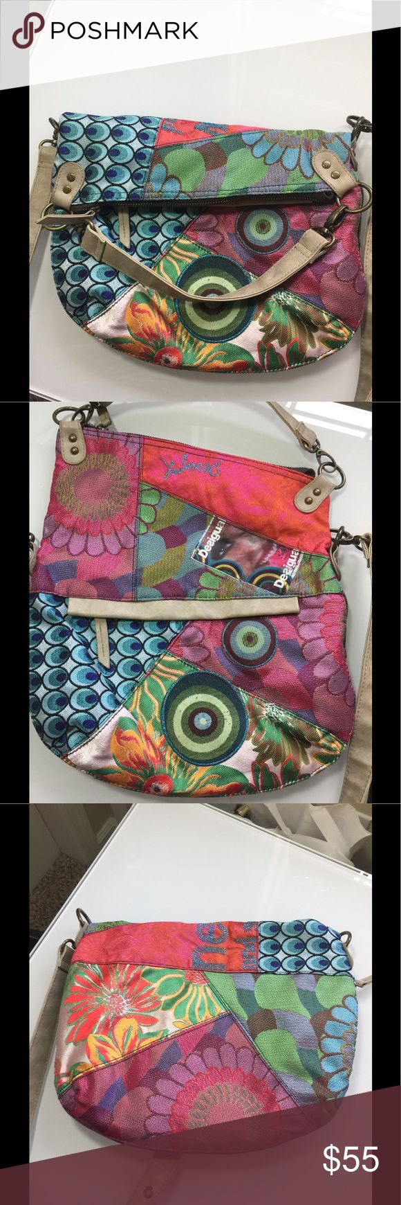 Desigual fabric handbag beautiful Gorgeous color for spring n summer adjustable width  Long n short handles strap  13 x 11 x 3 Desigual Bags