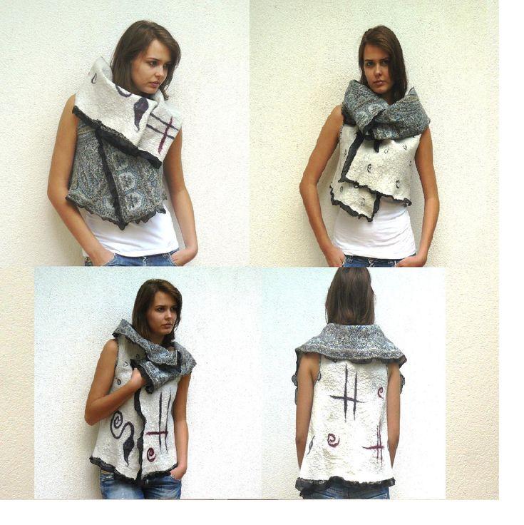 Variable Nuno Felt vest Merino Wool and Silk - Mod