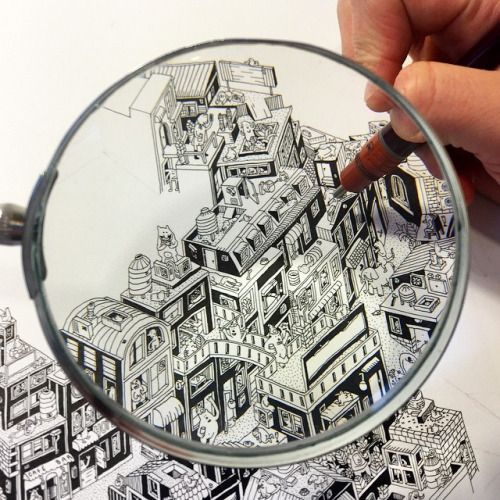 guillaumecornet:  Favelas in progress #workinprogress #drawing #architecture #detail #blackandwhite #rotring #pen #characters #illustration #artist #art #guillaumecornet #guillustration #guil #favelas #cityscape #city #buildings #magnify #wip