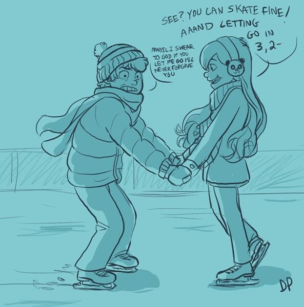 Ice skating mabel and dipper