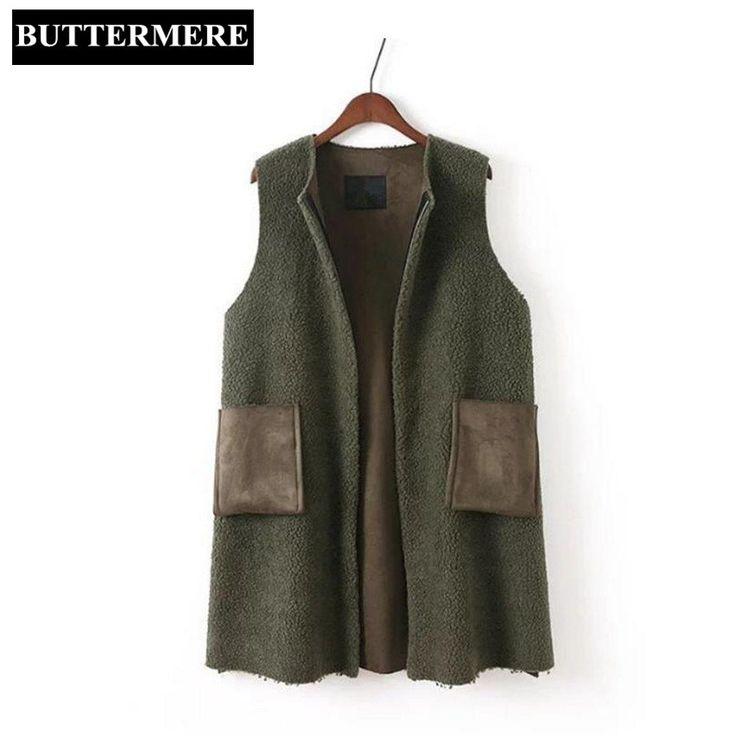 BUTTERMERE Brand Clothing Long Waistcoat Women Spring Green Berber Fleece Vest Patchwork Pu Leather Ladies Sleeveless Jacket