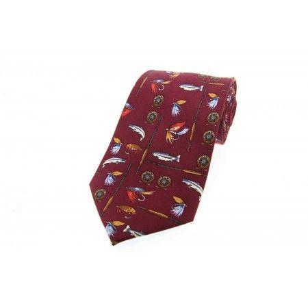 Burgundy/Wine Red Fishing Tackle Design Silk Tie - £17.50