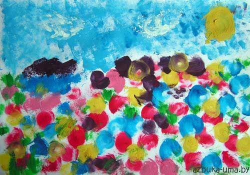 Рисуем губкой цветочную поляну | Азбука Ума - раннее развитие детей, игры с детьми, презентации для дошкольников
