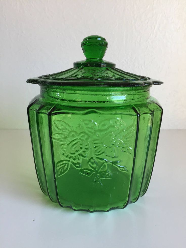Green Mayfair open rose repro jar, green glass biscuit jar, green glass container with lid, green glass cookie jar, mayfair open rose, by SweetBeanVintage on Etsy
