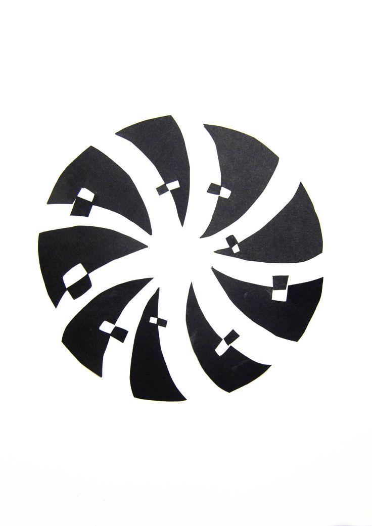 """[Ejercicio 1.2] Atrapado por la decadencia de Muse y su 'Hysteria', he plasmado la """"espiral"""" que me evoca su sonido distorsionado de intensidad creciente, movida por el empuje de un ritmo constante que queda velado tras la sintetización predominante. Es en eso en lo que se sustenta mi composición, en el concepto del ritmo a través de la repetición de formas (en este caso irregulares), en una secuencia de """"simetría"""" radial, que representa el ritmo (uniforme) preponderante que compone la…"""