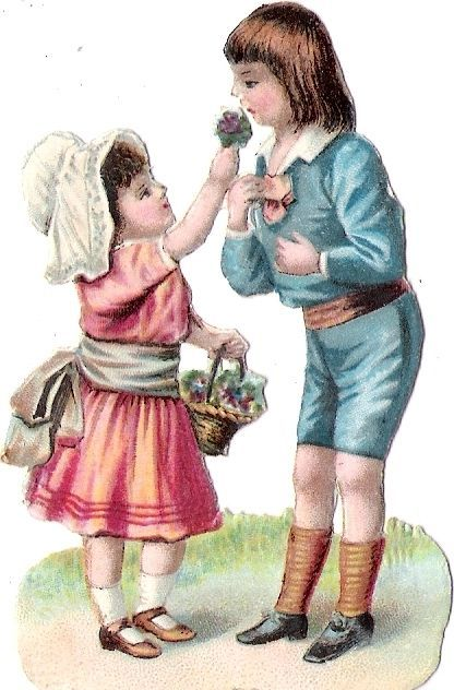 Oblaten Glanzbild scrap die cut chromo Kind child enfant couple Paar paire