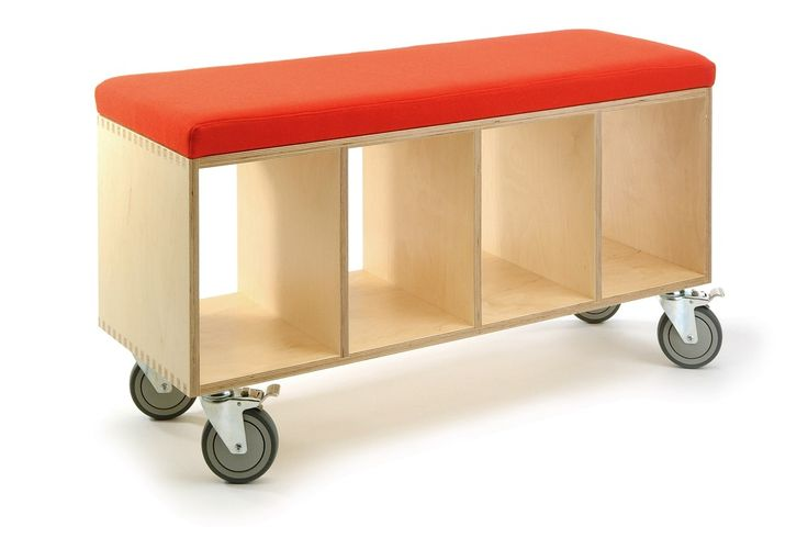 Bench box with great storage and casters.....this would look great with books or baskets.