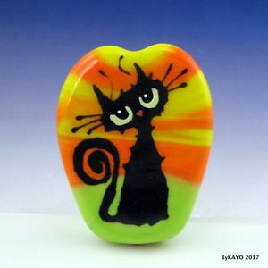 034-WHAT-DOES-IT-ALL-MEAN-034-byKAYO-a-Handmade-CAT-Lampwork-Art-Glass-Focal-Bead-SRA