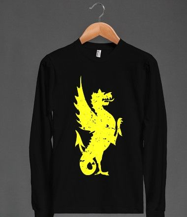 American Apparel dragon Unisex Long Sleeve Tee / Black