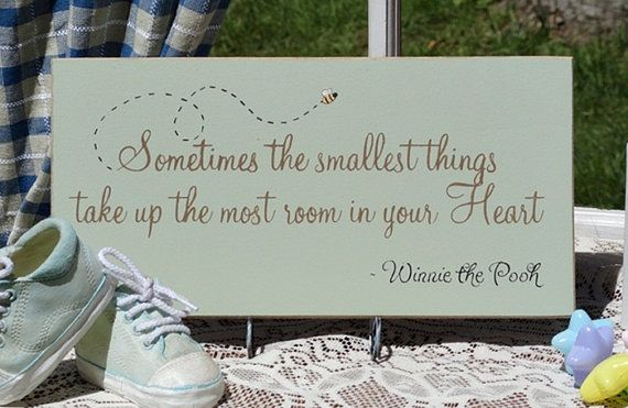 Sometimes The Smallest Things... (Green with Bee) Painted Wood Sign, Winnie the Pooh Sign via Etsy