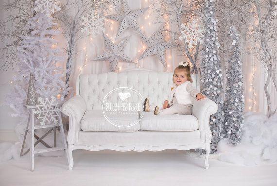 Baby Toddler Child Photography Prop Digital Backdrop for Photographers - CHRISTMAS WINTER WONDERLAND Sofa  Digital Backdrop