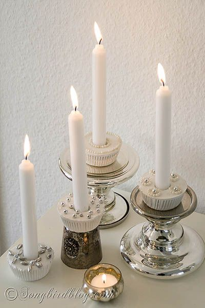 How to make cupcake candle holders from plaster via www.songbirdblog.com