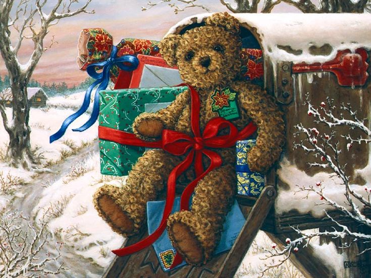 Special Delivery, a new holiday painting from Janet Kruskamp. It's a good thing teddy bears have nice fuzzy coats, this bear is sitting in a...